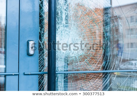 ストックフォト: 割れたガラス · フロントドア · 外 · 家 · ホーム · ドア