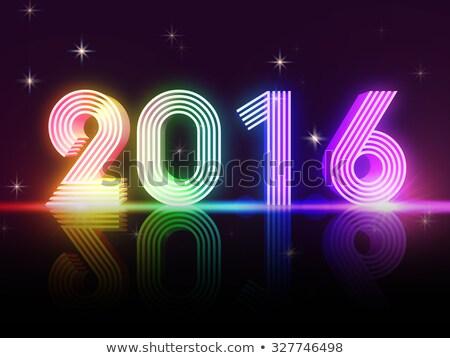 Year 2016 In Colored Neon Shining Figures Stockfoto © marinini