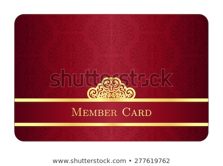 Red member card with classic vintage pattern and gold label Stock photo © liliwhite