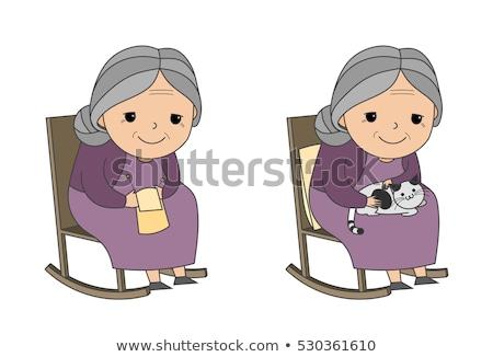 senior · neta · casa · feliz · trabalhar - foto stock © ozgur
