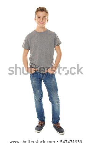 Foto stock: Ocio · fresco · inteligentes · nino · azul · camiseta