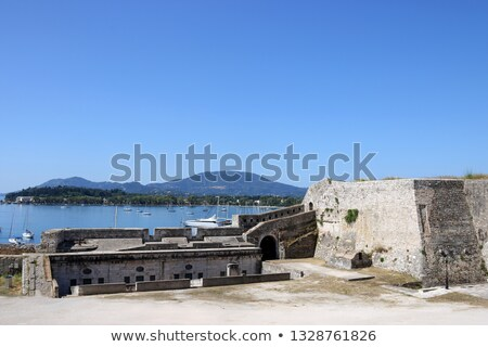 yachts and sailboats view from old fortress Corfu town Stock photo © goce