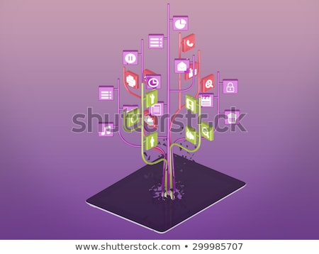 Social media icons set in tree shape on Modern black tablet pc. Stock photo © teerawit