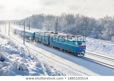 Сток-фото: железнодорожная · станция · снега · покрытый · строительство · фон