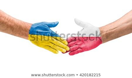 Futebol equipes aperto de mão Ucrânia Polônia mão Foto stock © Zerbor