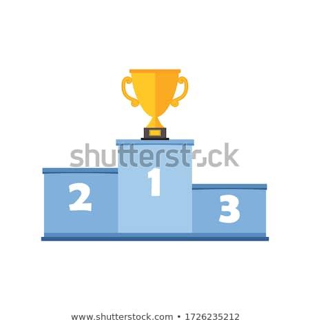 nyertesek · pódium · lány · ugrás · fehér · rajz - stock fotó © timurock
