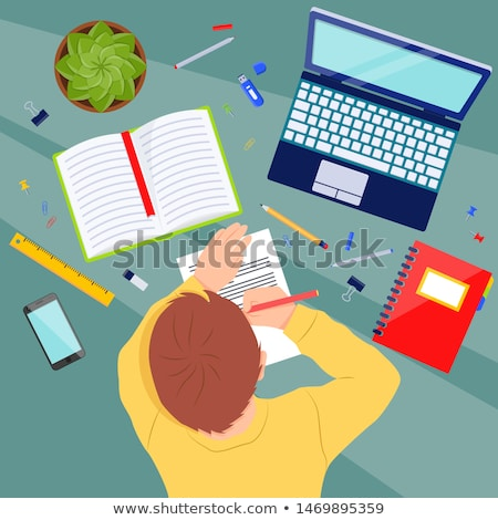 Paper design with boy doing homework Stock photo © bluering
