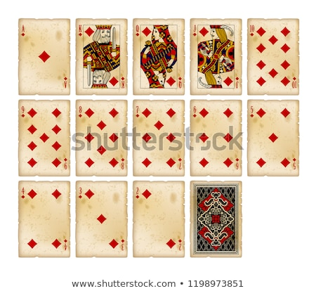 diamond poker card in vintage style vector illustration stock photo © carodi
