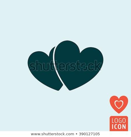 Stockfoto: Eenvoudige · twee · harten · iconen · liefde · hart