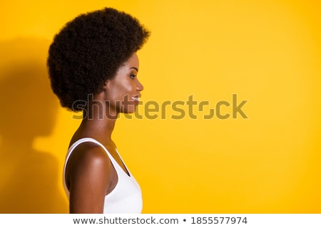 Profile of Attractive Young Mixed Race Woman Smiles Wearing Head stock photo © feverpitch