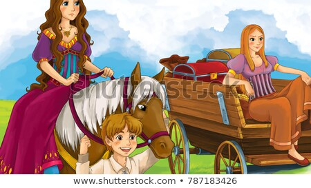 Cheerful, attractive woman with a majestic horse Stock photo © konradbak