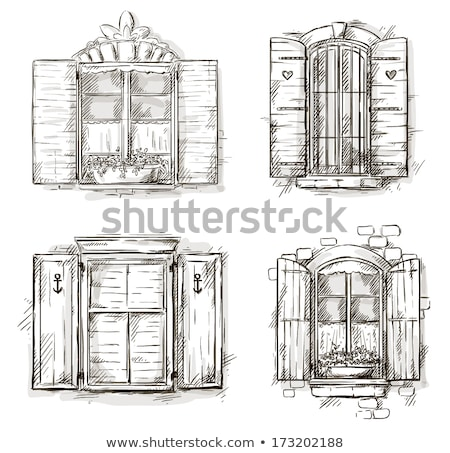 Building facade and old windows with classic wooden shutters bli Stock photo © stevanovicigor