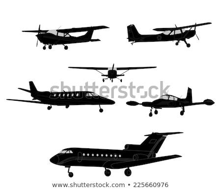 Siluetleri kontür uçak düzlem Stok fotoğraf © gomixer