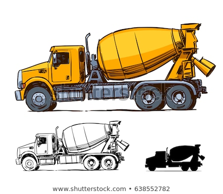 Foto stock: Concretas · mezclador · camión · boceto · icono · vector