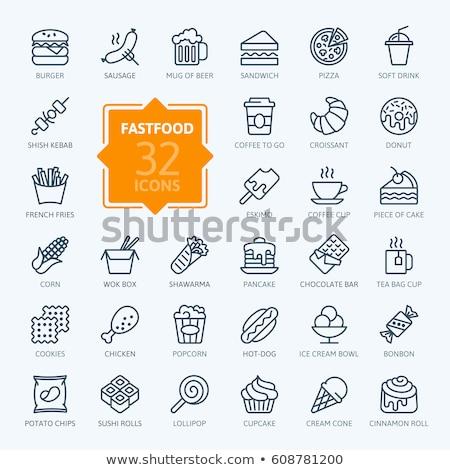 Kebab lijn icon vector geïsoleerd witte Stockfoto © RAStudio