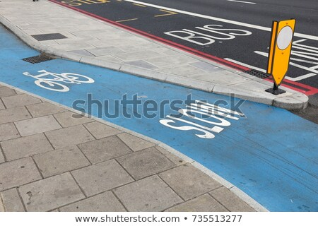 biciklizik · sáv · felirat · kilátás · nő · ingázás - stock fotó © stevanovicigor