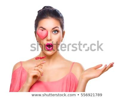 Zdjęcia stock: Piękna · szczęśliwy · zdziwiony · młoda · dziewczyna · walentynki · serca