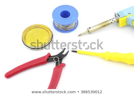 Soldering tools and accesories, soldering wire, soldering paste, cutting plier, screw driver, letcon Stock photo © clarion450