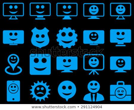 Stockfoto: Tools · versnellingen · glimlacht · iconen · ingesteld · stijl