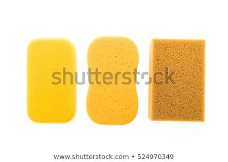 Gąbki żółty mycia odizolowany biały zdrowia Zdjęcia stock © MaryValery