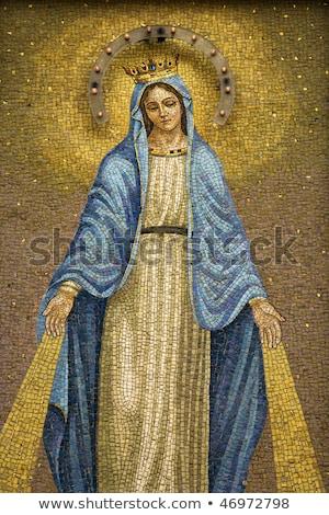 Virgem mosaico cerâmico azulejos igreja feminino Foto stock © homydesign