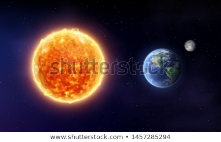 Stock photo: moon with earth universe vector background