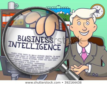ビジネス インテリジェンス レンズ いたずら書き ビジネスマン オフィス ストックフォト © tashatuvango