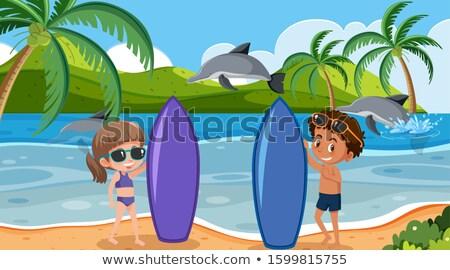 Fiatal lány delfin természet gyermek jókedv játék Stock fotó © IS2