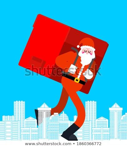 Święty mikołaj miasta wiele prezenty duży czerwony Zdjęcia stock © MaryValery