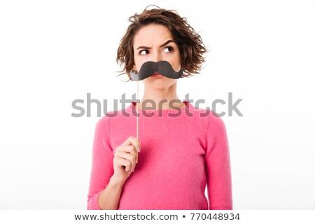 Komik kadın sahte bıyık gözlük Stok fotoğraf © deandrobot