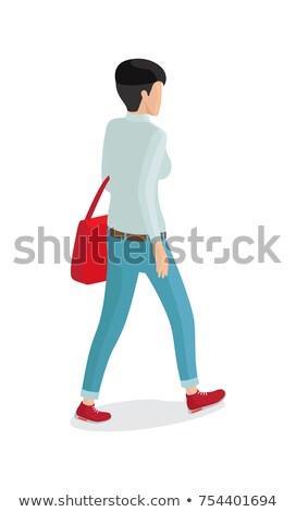 Nő nadrág szürke pulóver piros zsák Stock fotó © robuart