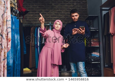 Muszlim üzletasszony érintés üzlet dolgozik számítógép Stock fotó © Jasminko