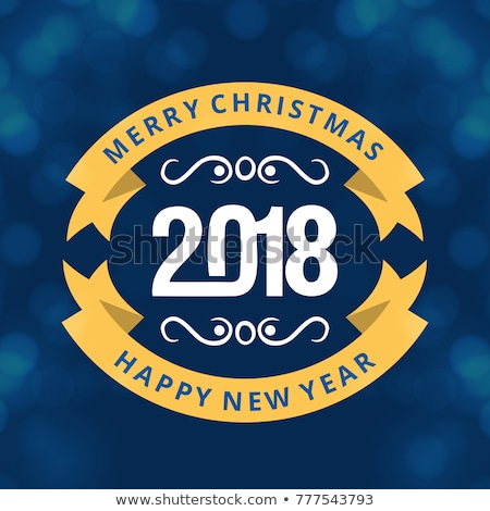 vector merry christmas greeting card illustration with typographic design and abstract color texture stock photo © articular