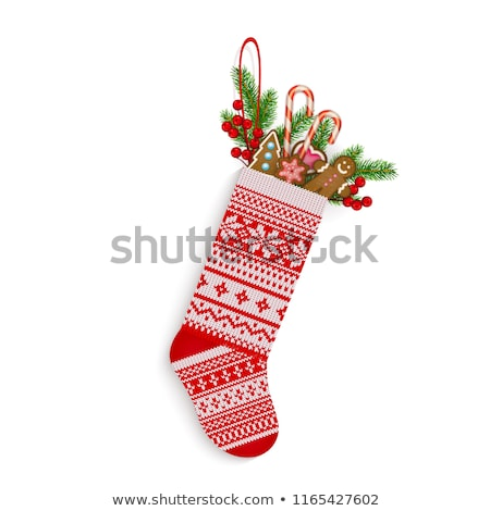 christmas stocking with cookie traditional holiday xmas sock fo stock photo © popaukropa