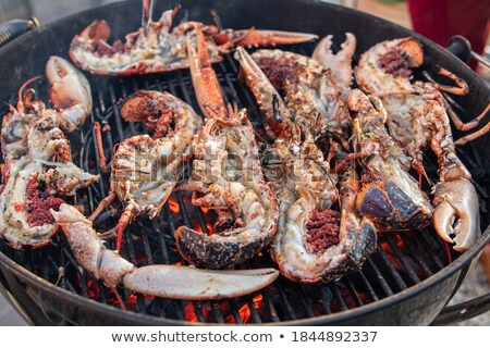 Close up of prawns grilling over fire Stock photo © IS2
