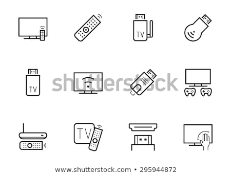 Home tv lijn icon vector geïsoleerd Stockfoto © RAStudio