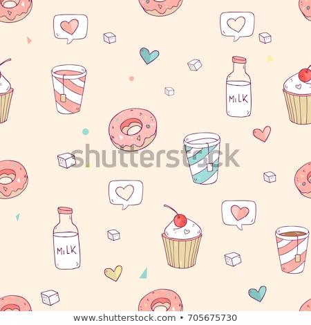 Lovely cupcake dessert seamless background vector design Stock photo © Natali_Brill