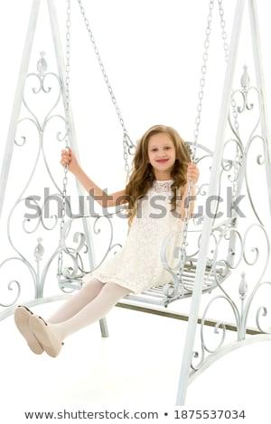 портрет очаровательный блондинка сидят Swing азиатских Сток-фото © konradbak