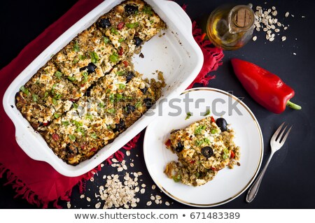 baked rolled oats with courgette Stock photo © glorcza