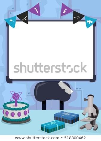 Cientista festa de aniversário conselho colorido ilustração ciência Foto stock © lenm