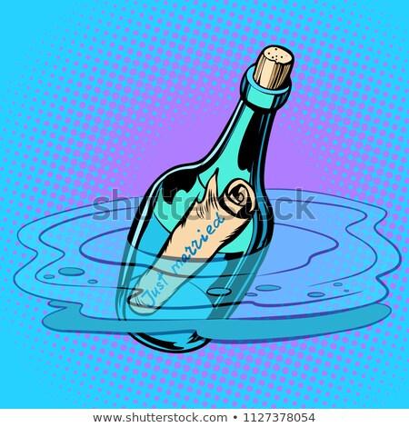бутылку сведению морем комического Cartoon Сток-фото © rogistok