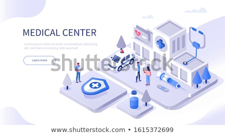 vektör · izometrik · düşük · hastane · odalar · ayarlamak - stok fotoğraf © tele52