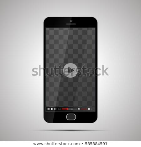 valósághű · idejétmúlt · fekete · telefon · izolált · fehér - stock fotó © evgeny89