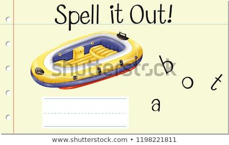 carta · barco · ilustración · ninos · nino · fondo - foto stock © bluering