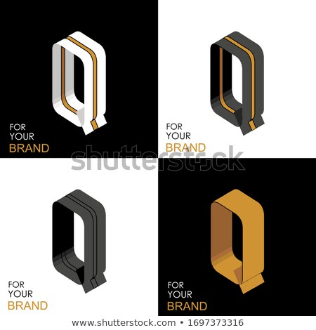 Black and white stripes Letter Q 3D Stock photo © djmilic