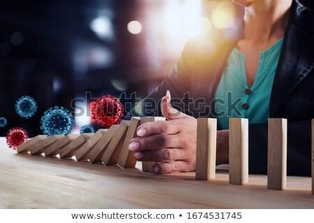 brinquedo · de · madeira · cadeia · isolado · branco · azul · corda - foto stock © alphaspirit