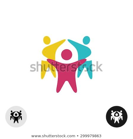 Pessoas felizes preto vetor assinar logotipo ícone Foto stock © blaskorizov
