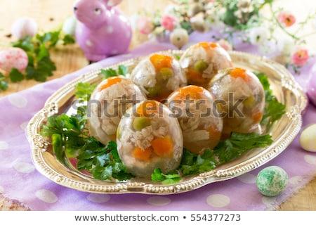 Hús zselé tojás étterem pult tyúk Stock fotó © grafvision