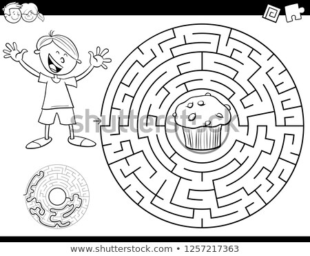 Doolhof kleur boek jongen muffin zwart wit Stockfoto © izakowski