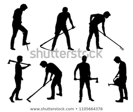trabalhador · pá · ferramenta · lama · terreno · homem - foto stock © robuart